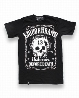 Liquorbrand Skull T shirt- Dishonor before Death